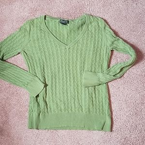 Eddie Bauer green cable knit v-neck sweater